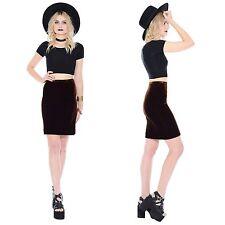 Vtg 80s 90s Donna Karan DKNY Velvet Mini Skirt Bodycon Stretch Grunge High-Waist