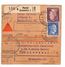 AR125 1945 GERMANY WW2 EASTERN FRONT Polish Border *Forst* Parcel Post Receipt