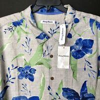 Tommy Bahama 100% Silk Camp Shirt Aqua Blooms Bala Shark BT322865 3XB NEW $140