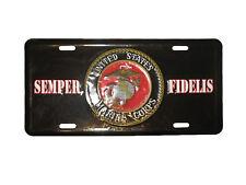 Black Marines USMC Marine Corps Semper Fi Fidelis Aluminum License Plate Tag