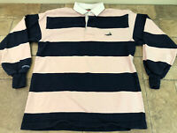 Barbarian Rugby Wear Men's Large Long Sleeve Polo Shirt Blue And Pink Striped