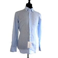 J-1265992 New Salvatore Ferragamo Light Blue Long Sleeve Oxford Shirt Size Med