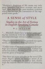 Sense of Style : Studies in the Art of Fiction in English-Speaking Canada