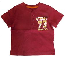 Cherokee Boys Cotton Henley Tee Shirt Hockey Graphics Red Size 12 Months