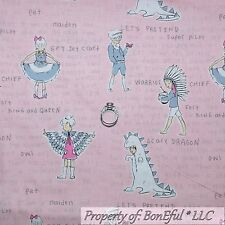 BonEful Fabric Cotton Quilt Pink Gray White Owl Princess Girl Doll Stripe SCRAP
