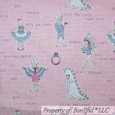 BonEful Fabric Cotton Quilt Pink Gray White Owl Princess Girl Doll Stripe SCRAP