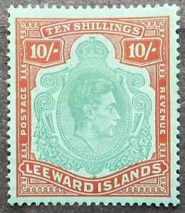 Leeward Islands 1938 King George VI 10Sh green/red, Mi #104 CV=EUR90 used
