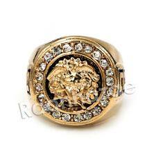 NEW MEN'S BIG CHUNKY 14K GOLD PLATED CLASSIC ICED OUT MEDUSA RING