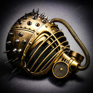 SteamPunk Gas Mask with Spike Masquerade Party Costume Dress Up Metallic Gold
