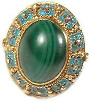 Chinese Export Gold Vermeil Sterling Silver Cloisonne Enamel Malachite Ring