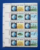 Sc # 1410-1413 ~ Plate # Block ~ 6 cent Anti-Pollution Issue (df13)