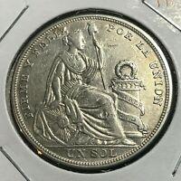 1923 PERU SILVER ONE SOL BRILLIANT UNCIRCULATED CROWN COIN