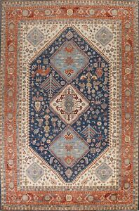 Tribal Geometric Traditional Oriental Area Rug Vegetable Dye Hand-knotted 9x12