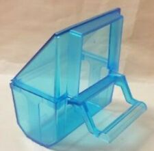 Lot of 4 Bird Transparent blue  Seed Food Water Feeder Feeding Cups -S.T.A