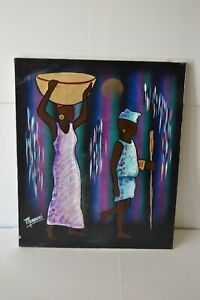 Original African Art Signed Mobassi Textured Canvas Bright Tribal Ethnic OOAK