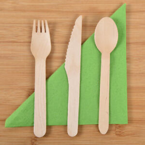 Wooden Cutlery Biodegradable Compostable - Forks Knives Spoons Packs Of 100