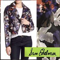 $190 NWT SAM EDELMAN Faux Leather Floral Front Zip Moto Jacket