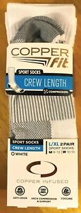 NWT 2 PAIRS MENS LARGE / XL COPPER FIT WHITE CREW LENGTH COMPRESSION SPORT SOCKS