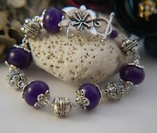 Chunky Rich PURPLE JADE Tibetan Silver Linked Bracelet ~ Floral toggle clasp