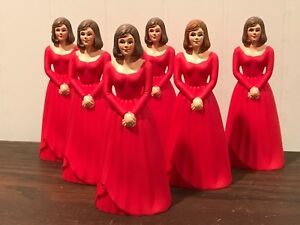 6 Vintage Bridesmaid Red Dress Cake Topper Cake Decoration Lot # 8