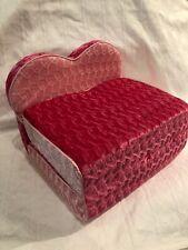 Build A Bear Heart Chair Fold-out Flip Bed Unfolds Pink Plush Velour Cute!