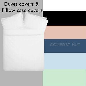 Duvet Quilt Cover + Pillow case 68 Pick Plain Dyed Polycotton Single Double King