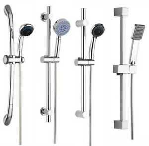 Adjustable Bathroom Shower Head Holder Riser Rail Bracket Slider Bar Chrome Kit