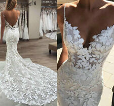 Mermaid Wedding Dress 3D Floral Applique Lace backless Tulle Train Bridal Gown