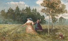 GENERAL GEORGE CHARLES D'AGUILAR Painting LADIES IN MEADOW c1840 IMPRESSIONIST