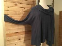 *KEKOO* Feinstrick-Shirt/Tunika mit Zacken-Muster, blau, Gr 50/52 (3)