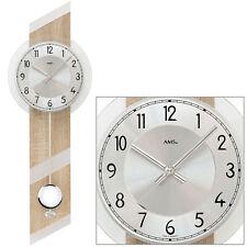 AMS 7415 Quarz mit Pendel Wanduhr Uhren Sonoma Holzgehäuse Wohnzimmeruhr Neu