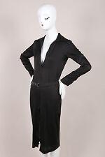 Gucci Tom Ford Black Silk Belted Long Sleeve Shirt Dress SZ 38