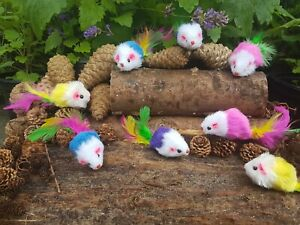 Cat Mouse Fur Mice Toy & FREE CATNIP - Rattle Plush (Pack of 4) Feather Tails