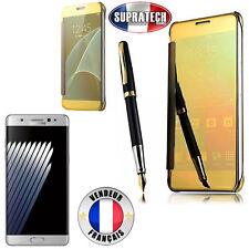 Coque Etui Housse Or et Effet Miroir Transparent pour Samsung Galaxy Note 7 N930