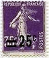 """FRANCE STAMP TIMBRE N° 218 """" SEMEUSE 35c VIOLET SURCHARGEE 25c """" NEUF xx LUXE"""