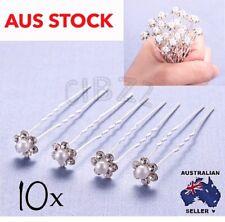10x U Shape Hair Pin Crystal Pearl Bridal Wedding Bun Accessory Rhinestone Clip