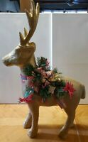 "Gold Vintage Paper Mache Deer Reindeer -25"" Tall - Christmas Decor Standing"