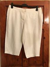 Ladies White Linen Blend Cropped Trousers Size UK 16 EU 44.