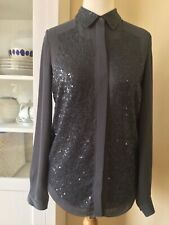 Next Womans Smart Blouse. Size 8. Grey. Sequinned Front.