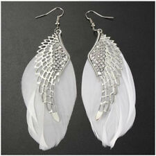 1 Pair Elegant White Angel Wing Feather Dangle Long Earring Women Drop Earrings