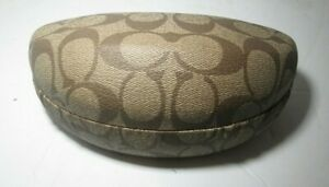 Coach Clam Shell Hard Eye Glass Case Classic Coach Logo Brown Tan