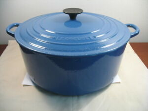 Vintage Le Creuset 9 Qt #30 Blue Round Cast Iron Dutch Oven