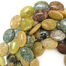 """30mm mottle green brown agate flat oval beads 7"""" strand 6pcs"""