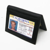 Black Men's Bifold Wallet LEATHER Thin Window ID License Thin Credit Cards