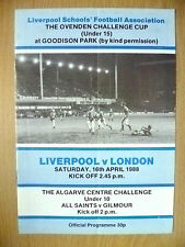 1988 Liverpool School Ovenden Challenge CUP Under 15- LIVERPOOL v LONDON