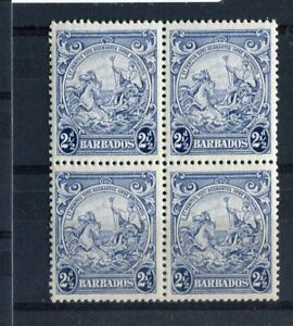 Barbados KGVI 1938-47 2.5d blue SG251b R12/6 frame line re-entry MNH block