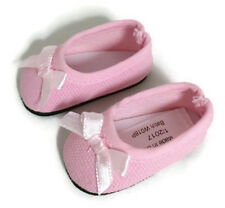 Pink Ballet Flats Shoes w/Bow for 14 inch American Girl Wellie Wishers Dolls