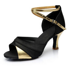 5/7cm Women Leather Dancing Shoes Braided Strap Buckle Mid Heel For Tango Latin