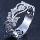 Women's Fashion Jewelry 925 Silver White Topaz Wedding Engagement Ring Size6-9