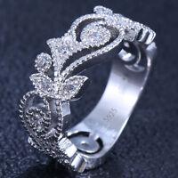 Women Fashion Jewelry 925 Silver White Topaz Wedding Engagement Band Ring Sz6-10